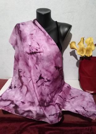 Натуральный шелк, батик, платок- сиреневые тона, 85*89