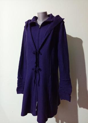 Теплое стильное пальто кардиган с шерстью