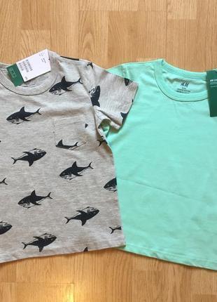 Набор футболок h&m, фирменная футболка для мальчика, р. 2-4 г,...