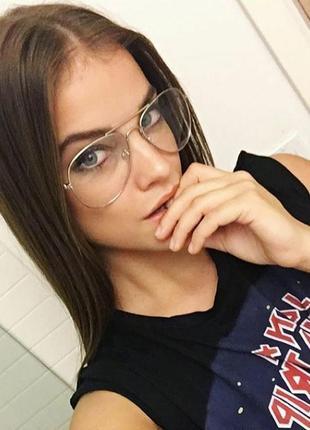 Новые очки для имиджа авиаторы, золотистые