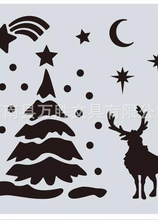 """Трафарет для нового года на окна """"Елка и олень"""""""