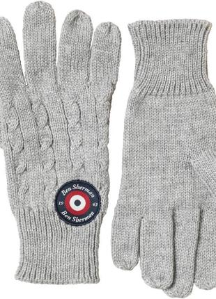 Перчатки ben sherman cable knit gloves grey marl оригинал