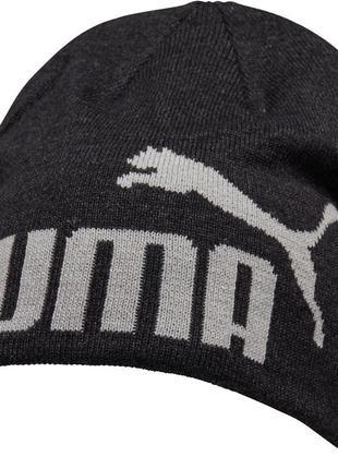 Шапка puma essential big cat beanie dark grey heather / оригинал