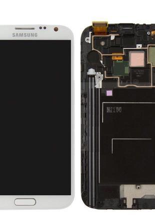 Дисплей для Samsung N7100 Galaxy Note 2, модуль с рамкой (экра...