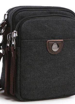 Барсетка текстильная на пояс Vintage 20082 Черная