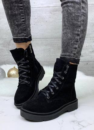 Зимние замшевые ботинки, стильные зимние ботинки из натурально...