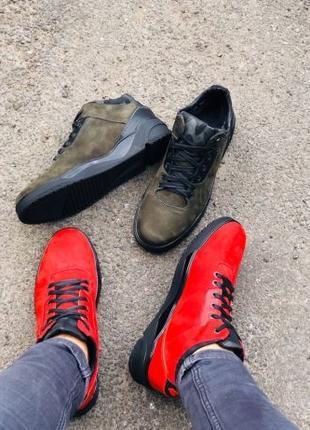 Lux обувь! Мужские зимние кожаные кроссовки ботинки на меху 40...