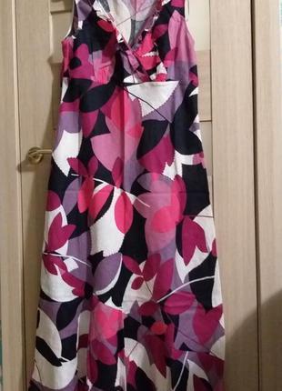 Яркое сочное платье в пол лен 100 %