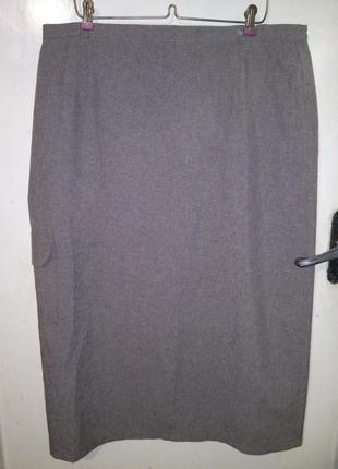 Элегантная,длинная юбка-карандаш с разрезом и карманом,бол.20-...