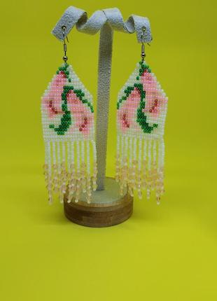 """Серьги с розовыми цветами """"колокольчики"""""""
