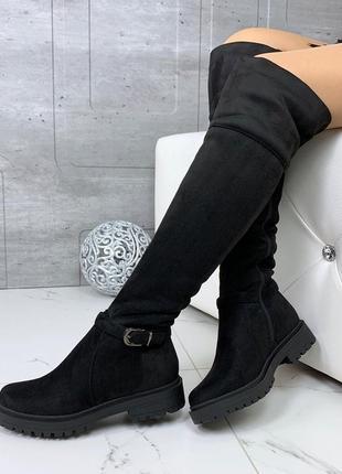 Зимние замшевые сапоги ботфорты на низком каблуке