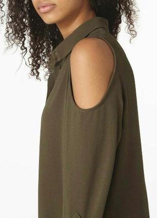 Отличная блуза-рубашка цвета оливки