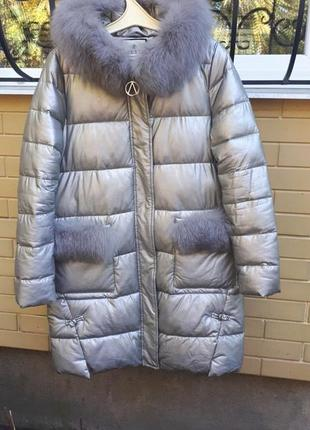 Трендовое пальто пуховик зимнее с натуральным мехом