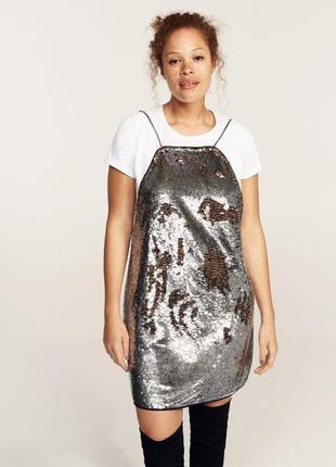 Коктейльное платье с пайетками на тонких бретелях mango violeta