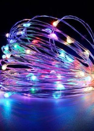 Гирлянда 30 LED на батарейках 4м нить белый, теплый, синий,цве...
