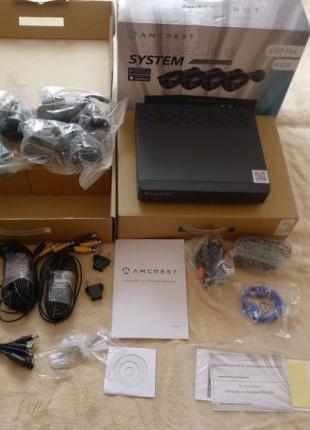 Комплект видеонаблюдения Amcrest 650 TVL 4 камеры 500GB HDD IP66