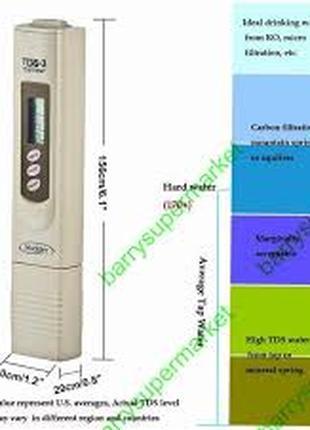 Shanwen TDS-3 Цифровой Счетчик измерения качества воды 0-9990 ppm