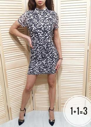 Boohoo вечернее платье s-m открытая спина кружево гипюр в обтя...