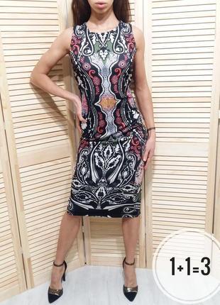 Next стильное миди платье m-l по фигуре принт узор в обтяжку в...