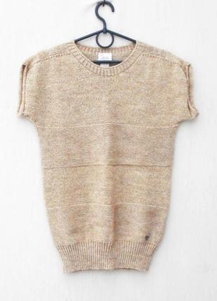 Бежевая осенняя зимняя вязаная шерстяная жилетка свитер с алпа...