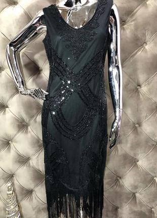 Платье с бахромой, бисером и паетками, размер s-m