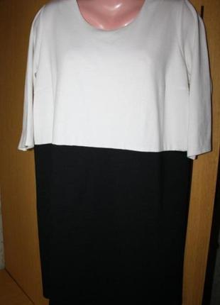 Трикотажное платье туника, белый верх черный низ, ид. сост., 5...