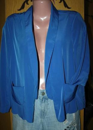 Легкий жакетик накидка синий электрик,укороченный рукав, м