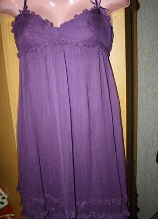 Нежное воздушное платье, 100% шелк, s