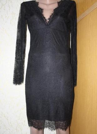 Черное кружевное платье миди, ид. сост., s