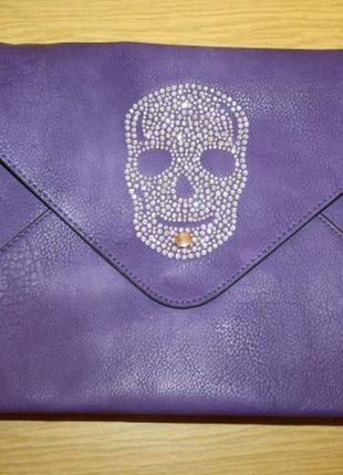 Яркая фиолетовая сумка клатч,  стразы,новая