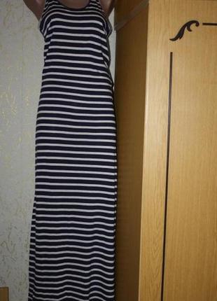 Полосатое макси платье в морском стиле, s , на высокий рост.новое
