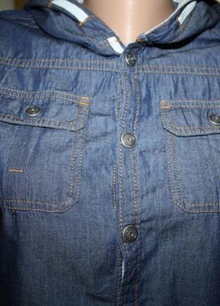 Джинсовая рубашка с капюшоном, 164 рост
