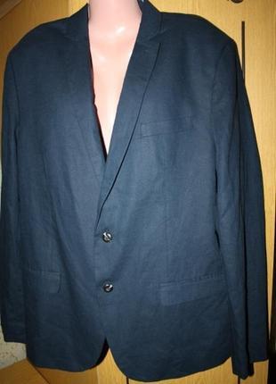 Стильный синий пиджак лен, 56 р.