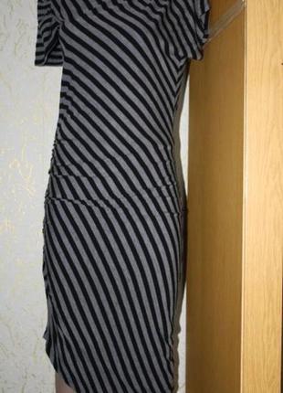 Полосатое ассиметричное платье, турция ,м-л