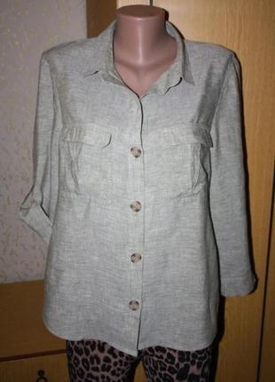 Блуза рубашка хаки лен, 14 р.