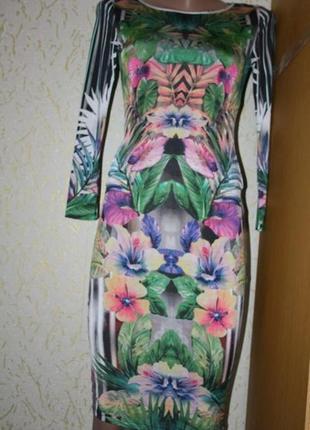 Платье миди с цветочным принтом 3d-эффект , s