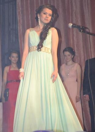 Шикарное выпускное вечернее платье мятного цвета, м