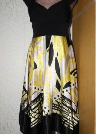 Шикарное черно-желтое платье, м