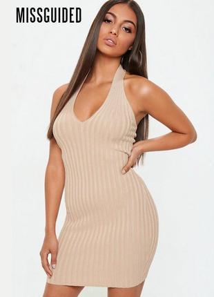Новое трикотажное платье со шлейками за шеей missguided