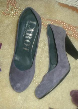 Шикарнейші якісні презентабельні туфельки фіолетові шкіра+замш...
