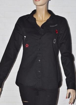 Черная женская хлопковая рубашка с длинным рукавом
