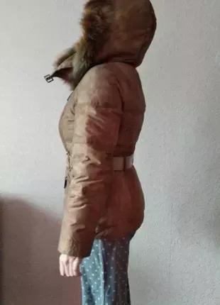 Пуховик женский, с капюшоном, мех из песца