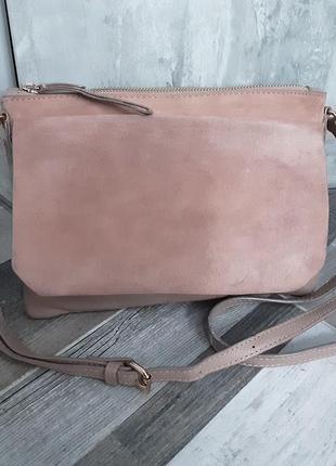 Пудровая кожаная сумка кроссбоди accessorize