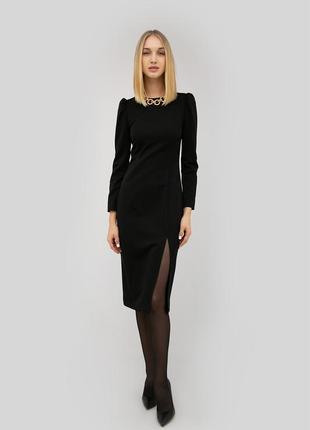 Черное коктейльное платье миди с разрезом cardo