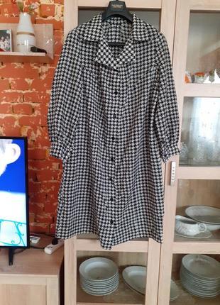 """Платье рубашка в принт """"гусиные лапки"""" с одним карманом большо..."""