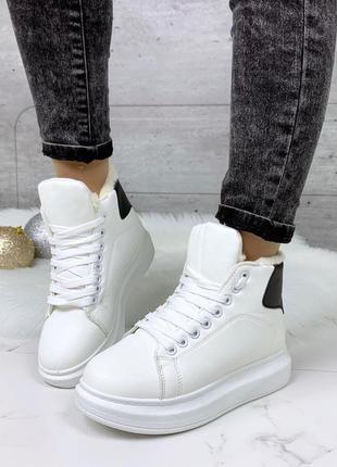 Зимние белые кроссовки с чёрной пяткой,стильные зимние кеды с ...