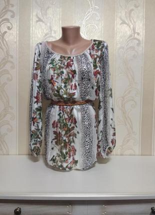 Шифоновая блуза , леопард и цветы, италия.