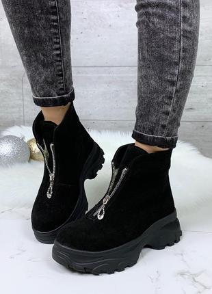 Зимние замшевые ботинки с молниями на платформе,зимние ботинки...