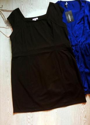 Черное платье миди без рукавов длинное летнее батал большой ра...
