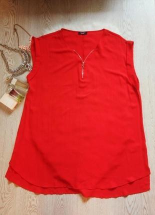 Красное платье длинная туника блуза на молнии батал большой ра...
